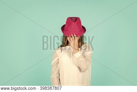 Spring Shopping. Individual Style. Girl Wear Hat Blue Background. Summer Accessory Collection. Fashi
