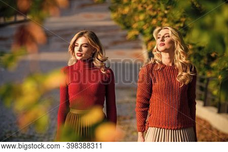 Fall Fashion. Pleated Skirt Fashion Trend. Friends Girls. Autumn Stylish Outfit. Adorable Ladies Enj