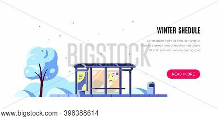 Landscape With Bus Stop, Winter Shedule, Flas Style Vector