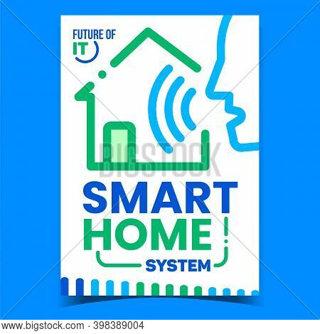 Smart Home System Creative Promo Banner Vector. Voice Intelligent Control Of Smart House Building, F