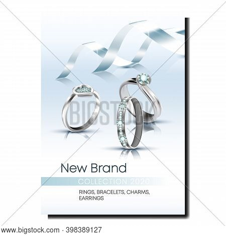 Rings Store Creative Promotional Poster Vector. Jewellery Platinum Or Silver Rings Decorated Gemston