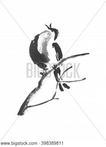 Japanese Style Sumi-e Painting With Singing Bird On A Branch.
