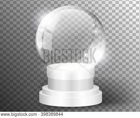 White Vector Snow Globe Clear Template Isolated On Transparent Background. Christmas Magic Ball. Gla