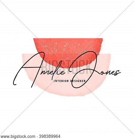 Watercolor Abstract Minimal Shape, Aquarelle Blobs Elegant Logo, Branding, Banner, Poster, Party Inv