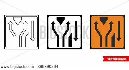 Lanes Diverge At Crossover Roadworks Sign Icon Of 3 Types Color, Black And White, Outline. Isolated