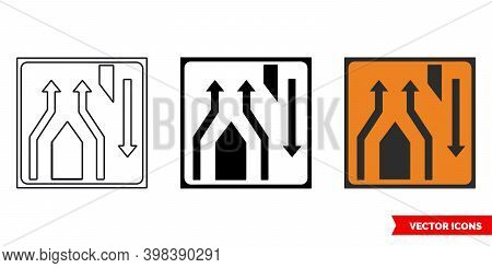 Lanes Rejoin At Crossover Roadworks Sign Icon Of 3 Types Color, Black And White, Outline. Isolated V