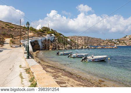 Chora, Ios Island, Greece- 22 September 2020: Boats Moored At The Harbor Wharf. Path To The Agia Iri
