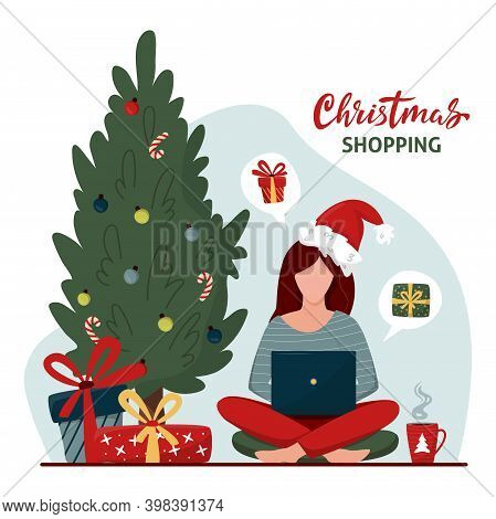 Woman In Santa Hat Buys Christmas Gifts Online. Online Shopping Concept With Characters. Safety Chri