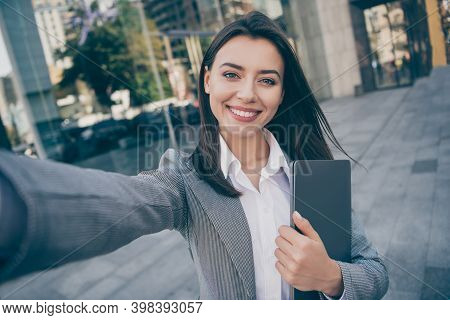 Photo Of Attractive Positive Young Businesswoman Take Selfie Hold Laptop Outdoors In Downtown City C
