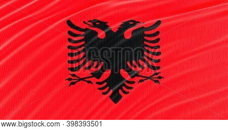 3d Render Of Albania Flag For Memorial Day, Albania Waving Flag, Independence Day.
