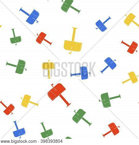 Color Mail Box Icon Isolated Seamless Pattern On White Background. Mailbox Icon. Mail Postbox On Pol