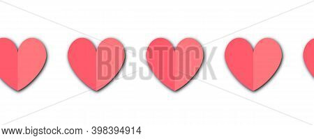 Paper Hearts Seamless Border. Repeating Pattern With Paper Cut Style Folded Heart Shapes. Red Pink C