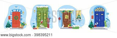 Christmas And New Year Doors And Windows Collection. Holiday Vector Illustration For Christmas Banne