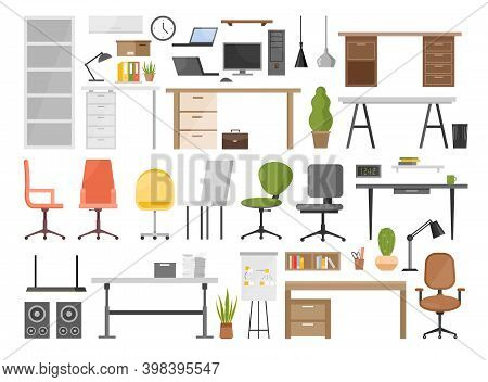 Cartoon Ergonomic Furnishing Objects For Modern Interior Design Collection With Chair And Manager Ta
