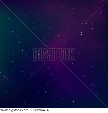 Starry Night Sky. Universe Nebula. Outer Space And Milky Way. Vector Illustration