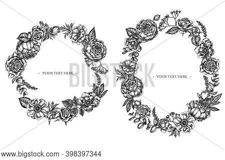 Floral Wreath Of Black And White Roses, Anemone, Eucalyptus, Lavender, Peony, Viburnum Stock Illustr