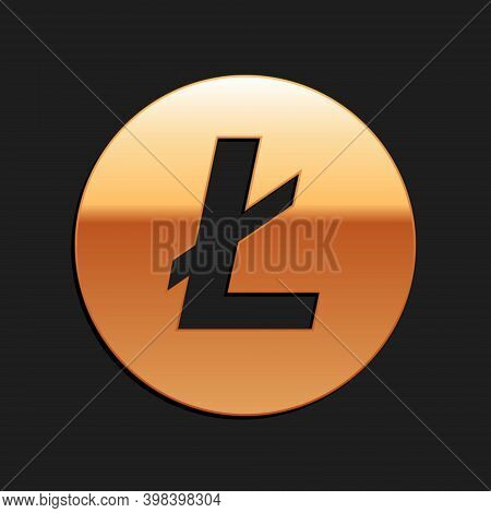 Gold Cryptocurrency Coin Litecoin Ltc Icon Isolated On Black Background. Digital Currency. Altcoin S