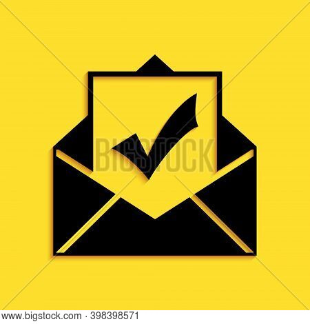 Black Envelope With Document And Check Mark Icon Isolated On Yellow Background. Successful Email Del