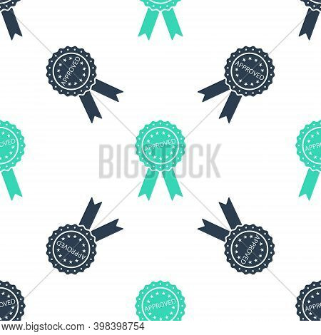 Green Approved Or Certified Medal Badge With Ribbons Icon Isolated Seamless Pattern On White Backgro