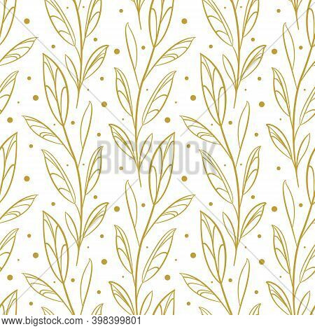 Vector Seamless Pattern With Gold Abstract Foliate Branches; Vertical Twigs; For Greeting Cards, Wra