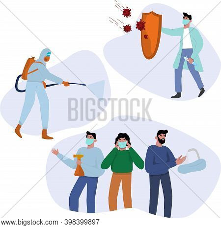 Collection Of Remedies And Coronavirus Quarantine Concept. People In Protective Masks, Worker In A P