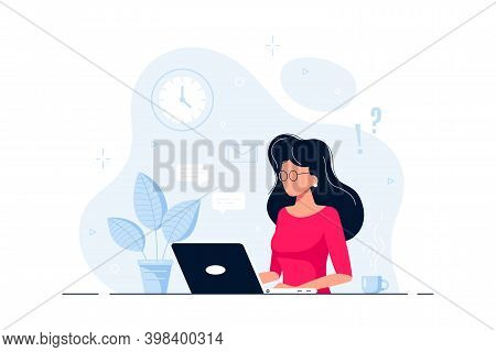 Business Lady Or Company Worker At The Desk With Laptop