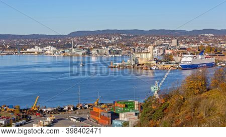 Oslo, Norway - October 29, 2016: Cityscape Fjord At Autumn Day From Cargo Port In Oslo, Norway.