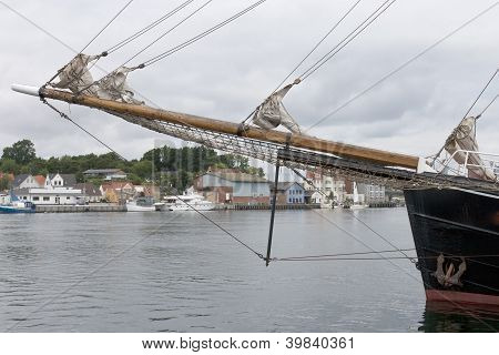 Bowsprit On Old Sailing Ship
