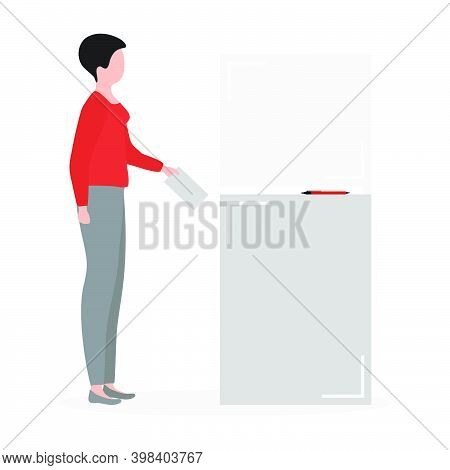 Voting Vector Illustration Election Day People Vote In Voting Booth. People Give Their Vote For The