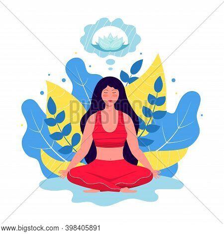 Vector Illustration Meditation Concept. Young Girl Meditation, Practicing Yoga. Health Benefits For
