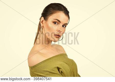 Female Beauty And Fashion. Hairdresser Beauty Salon. Elegant Fashion Model. Girl Wear Earrings. Her