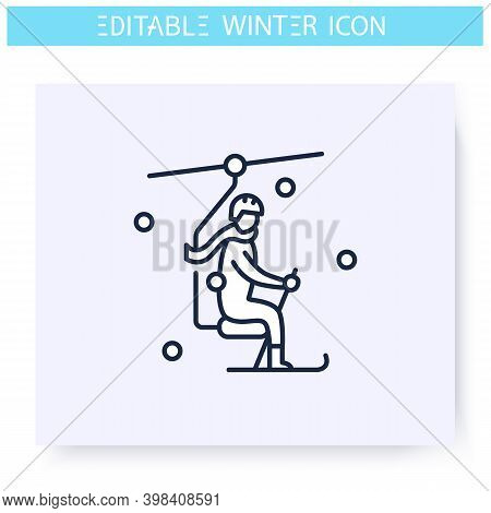 Ski Elevator Line Icon. Man Going To The Top By Ski Elevator. Skier. Winter Holidays And Leisure Con
