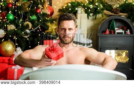 Christmas Eve. Happy New Year Gift. Erotic Wish. Feel Temptation. Winter Decorations Background. Mus