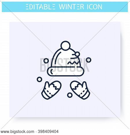 Knitting Hat And Gloves Line Icon. Cozy Outerwear, Winter Outfit. Skier Or Snowbordist Scandinavian
