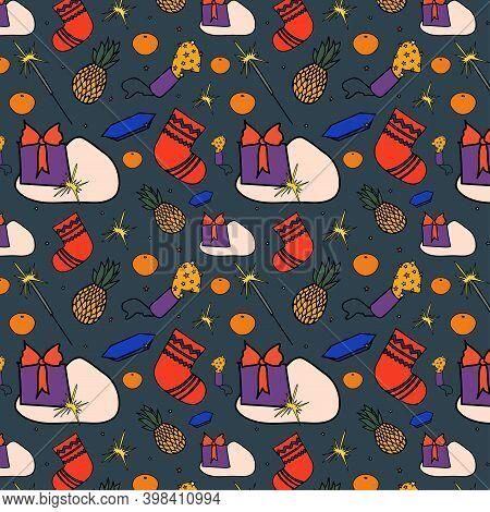 Seamless Christmas Pattern: Gift, Sparkler, Tangerine, Clapper Board, Pineapple, Christmas Sock, Sta