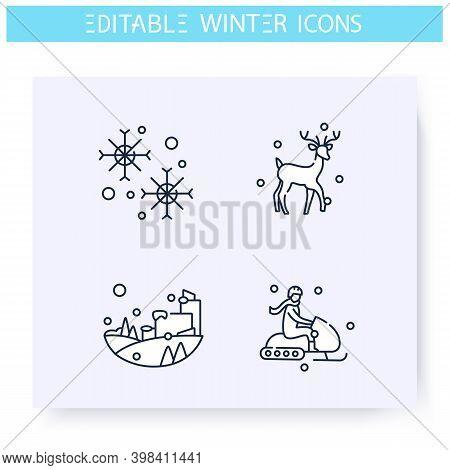 Winter Fun Line Icons Set. Outdoors Activities, Snowy City, Winter Holidays, Winter Sport. Recreatio