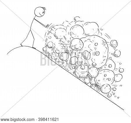 Vector Cartoon Stick Figure Illustration Of Man On Top Of Mountain Creating Avalanche Of Rocks Falli