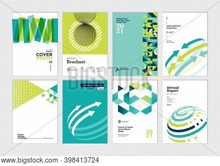 Set Of Brochure, Business Plan, Annual Report, Cover Design Templates. Vector Illustrations For Busi