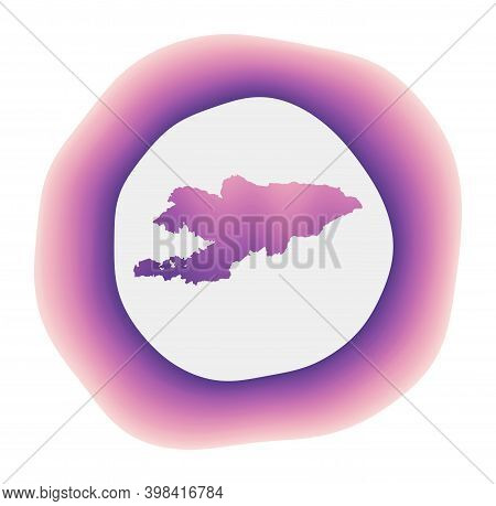 Kyrgyzstan Icon. Colorful Gradient Logo Of The Country. Purple Red Kyrgyzstan Rounded Sign With Map