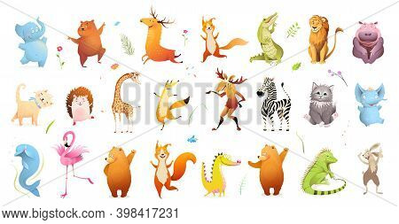 Wild Baby Animals Big Clipart Collection Of Wildlife Illustration. Safari Animals And Pets For Kids