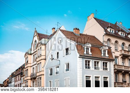Antique building view in Old Town Strasbourg, France