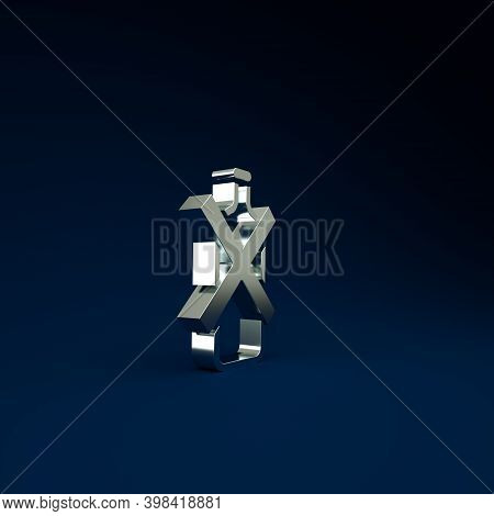 Silver No Alcohol Icon Isolated On Blue Background. Prohibiting Alcohol Beverages. Forbidden Symbol