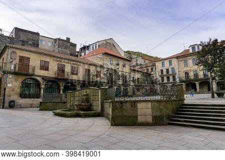 Pontevedra, Galicia / Spain - 2 December 2020: Praza De Teucro Square In The Historic Old City Cente