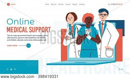 Online Medical Support Website Page Template With Doctors Characters, Cartoon Flat Vector Illustrati