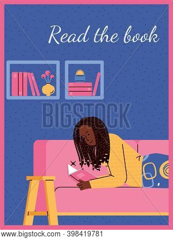 Card Or Poster With Woman Reading Book At Home, Cartoon Flat Vector Illustration. Card Design Templa