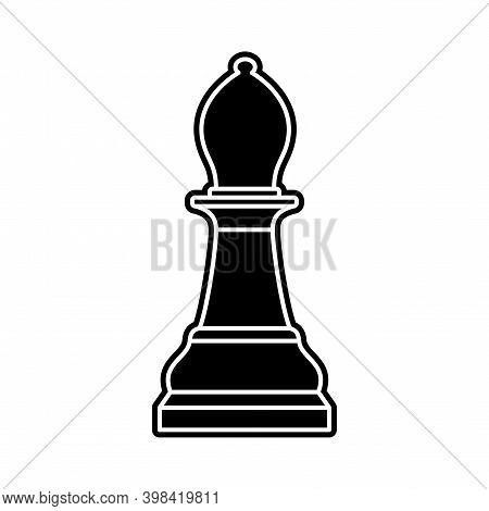 Black Chess Bishop Piece On White Background