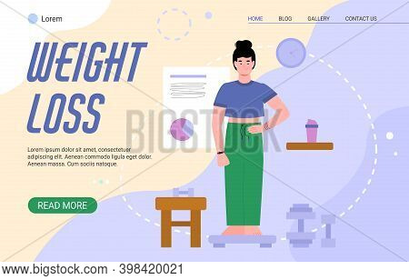 Weight Loss Webpage Concept For Nutritionist Or Dietitian With Woman Standing On Scale, Cartoon Vect