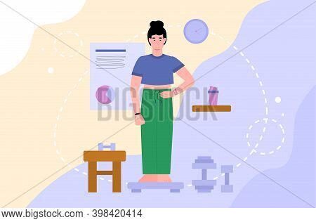 Woman Cartoon Character Checking Her Weight Loss Results On Scales, Flat Vector Illustration. Banner