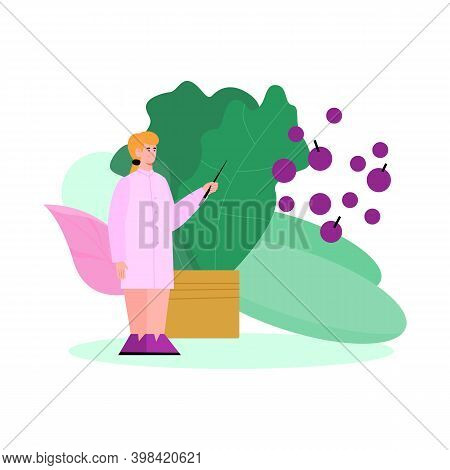Doctor Nutritionist Female Cartoon Character Standing At Backdrop Of Green Vegetables Leaves, Flat V