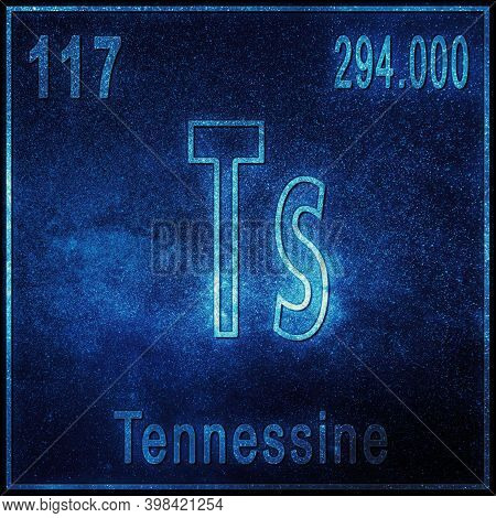 Tennessine Chemical Element, Sign With Atomic Number And Atomic Weight, Periodic Table Element
